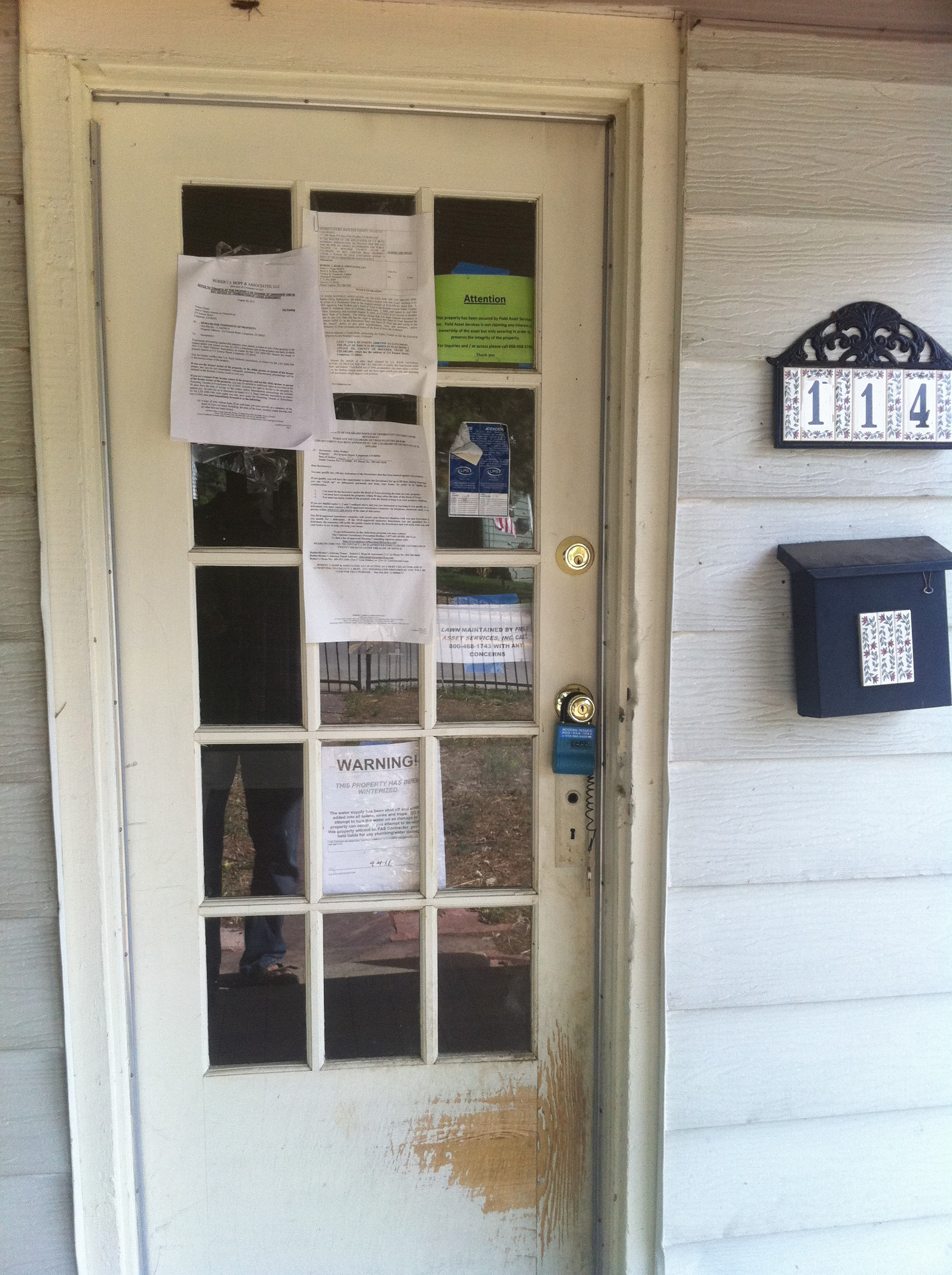 Old front door complete with foreclosure notices ... & The Foreclosure Project: Final Numbers and Pictures are In!