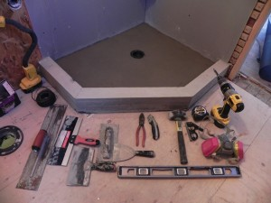 Here's a completed pan, still wet. All the tools involved are shown too.