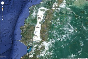 Try visiting Ecuador using Google Earth. It is an amazing place - the Eastern  half is almost pure Amazon rainforest.