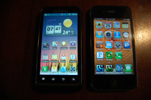 Defy XT vs iPhone 4 - front