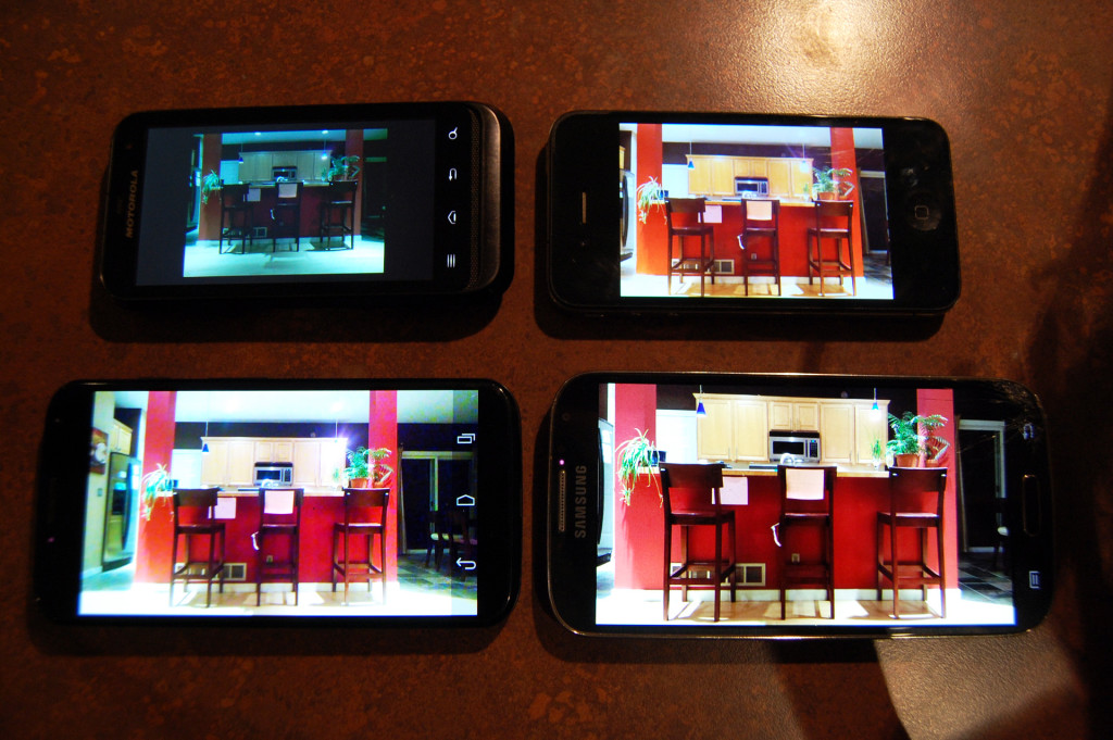Clockwise from top left: Defy XT, iPhone4, Galaxy S4, Motorola X