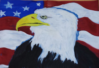 """Badass Mustachian Eagle of Freedom"" by M. Mustache. 2013, 8.5""x11"", Kid paint on scrap paper"