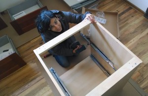Mrs. Money Mustache builds a drawer unit for the new kitchen