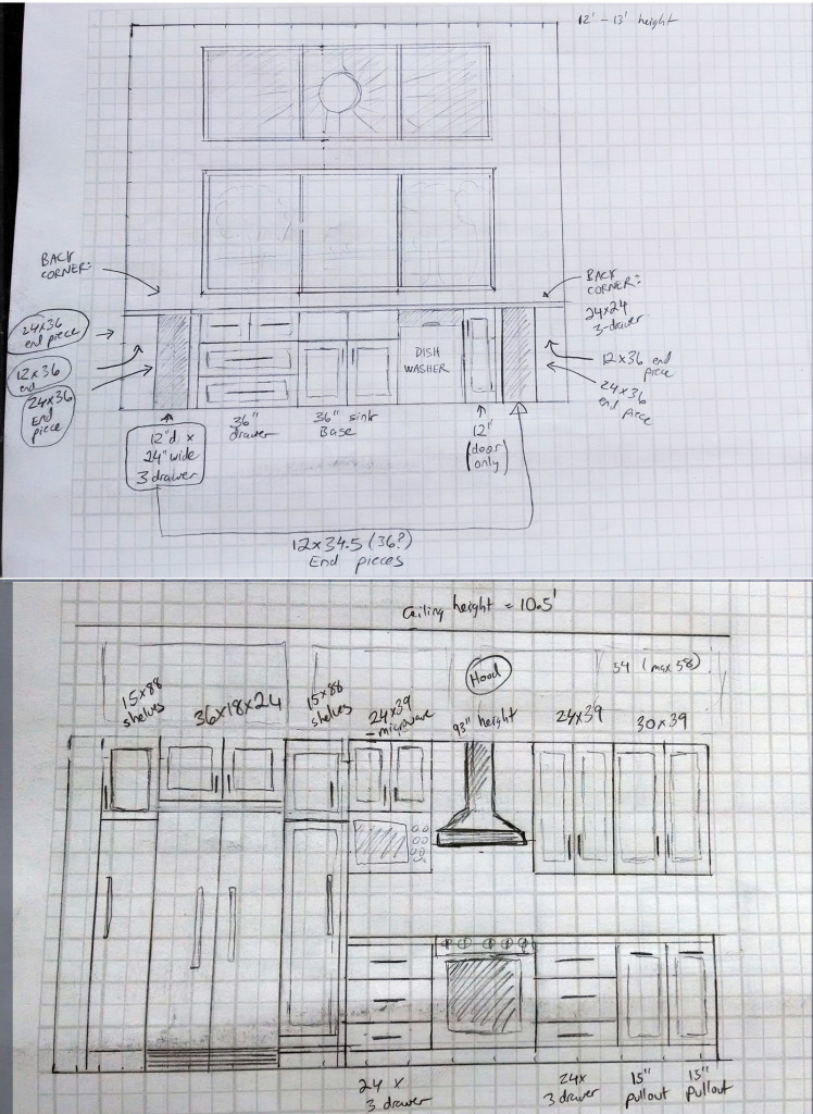 My sketches of the kitchen design. Note the 12-foot wall of South-Facing windows above the sink, so I can get a tan while doing dishes in the winter.