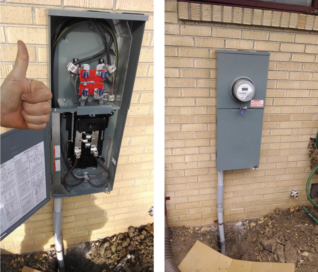 After: My spiffy install job is capped by a new digital meter with Zero kilowatt hours on the clock. Ahh, new beginnings.