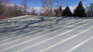 Here's the view looking upslope at my finished roof. I built in a chimney flashing to accomodate the future woodstove.