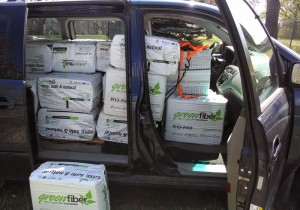A Honda Odyssey with all seats including front removed, holds exactly 41 bags of insulation.