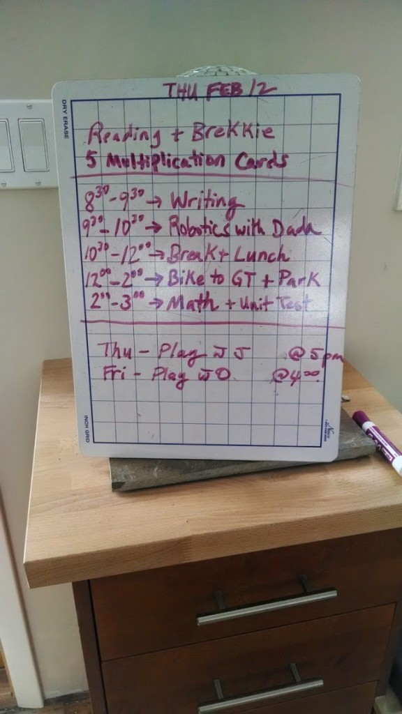 Typical day's schedule