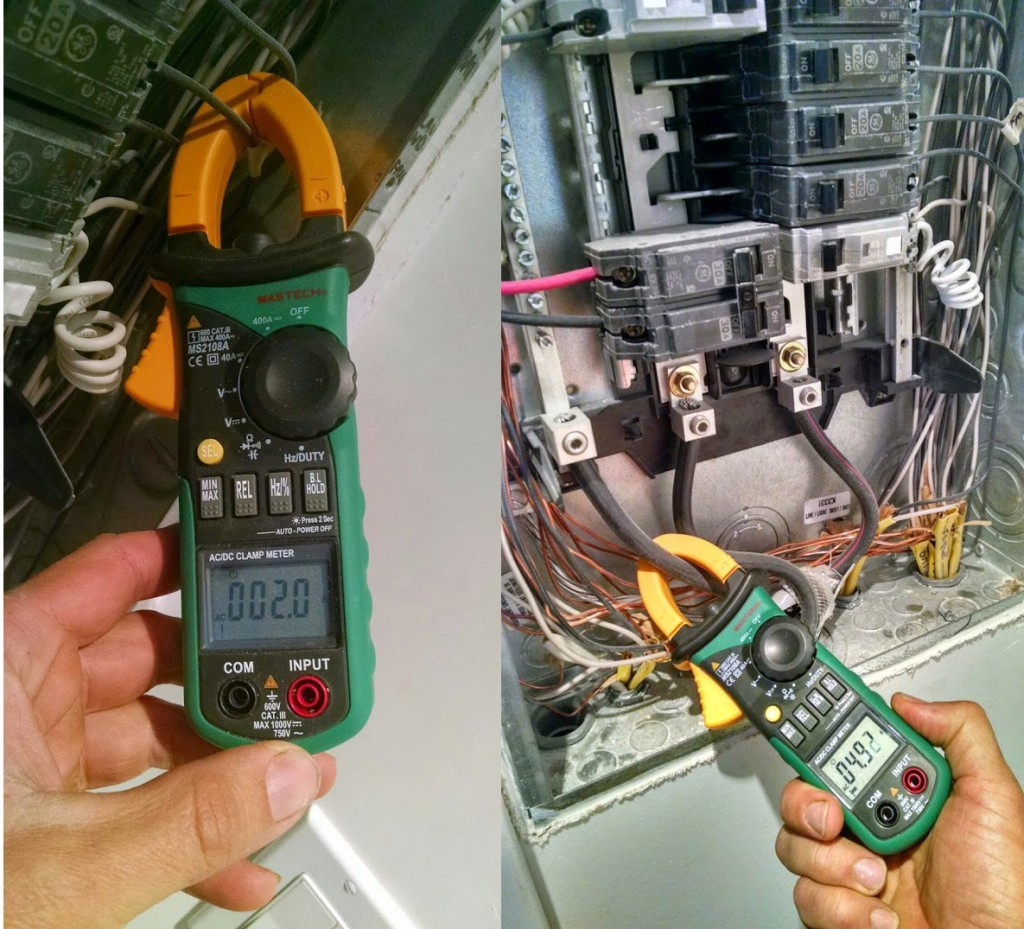 This clamp-on current meter lets me measure an individual circuit (fridge 2.0 amps = 240 watts) or the whole house (4.92 amps).