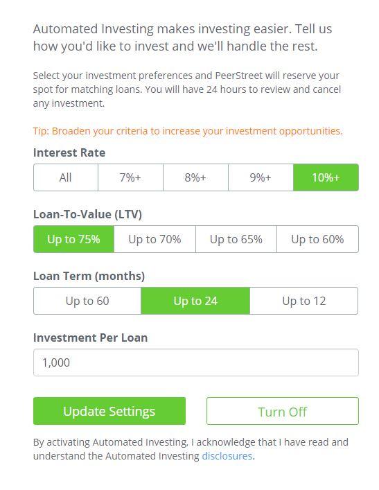 peerstreet automated investing settings