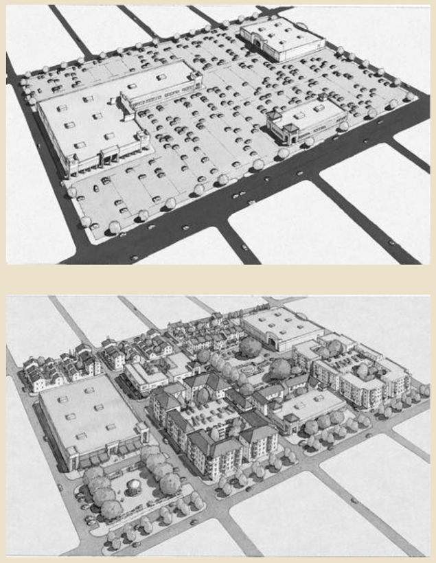 Space for cars, or for people? Two ways to use a chunk of city land. (image credit: the happy city book)
