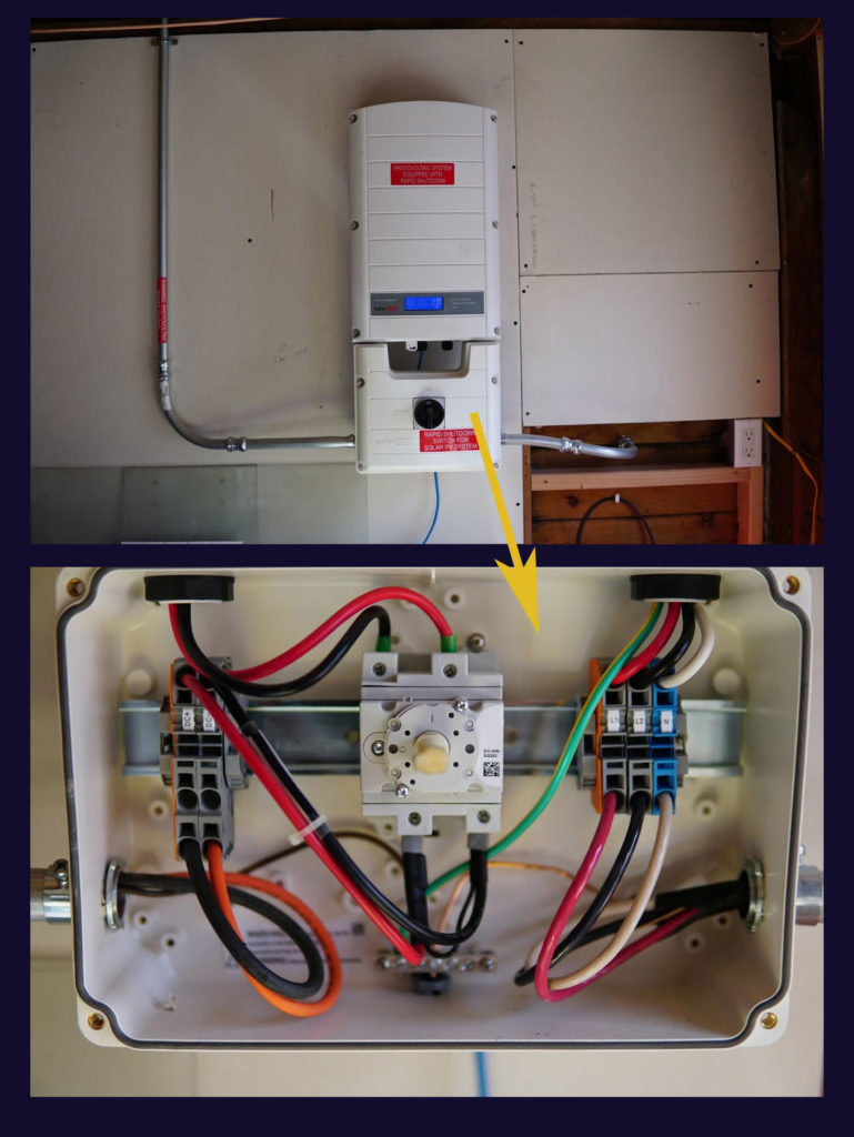 My diy solar power setup free energy for life inverter mounting including the conduit going up through the roof left out to the main breaker box right required warning stickers red publicscrutiny Images