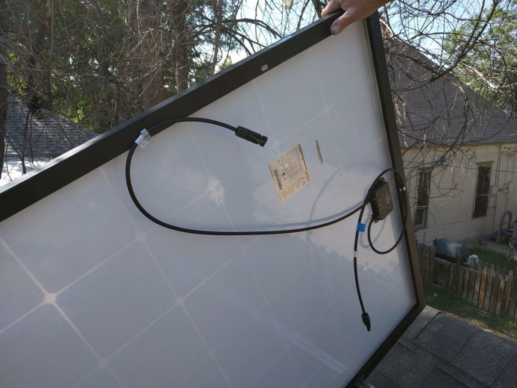 My Diy Solar Power Setup Free Energy For Life Mr Money Mustache 2nd Edition Upgrades And Battery Bank Wiring Youtube The Bottom Of Each Panel Has Two Long Output Wires Use Clips Or Zip Ties To Keep Cables Tidy So They Dont Dangle Onto Roof Too Much