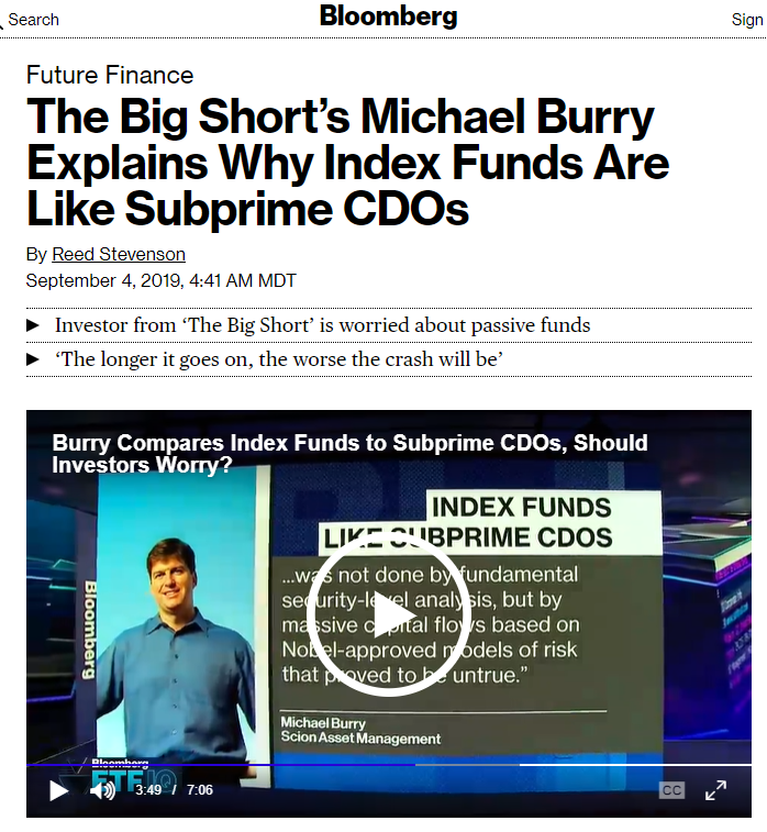 Michael Burry Trashes Index Funds